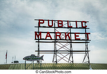 Famous Public Market sign in Seattle, Washington - Seattle,...