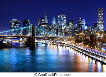New York City - Skyline of downtown New York, New York, USA