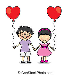 first love. Children with heart-shaped balloons