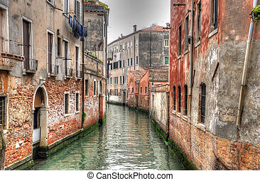 Canal in Venice with ancient hoses, Venice, Italy (HDR)