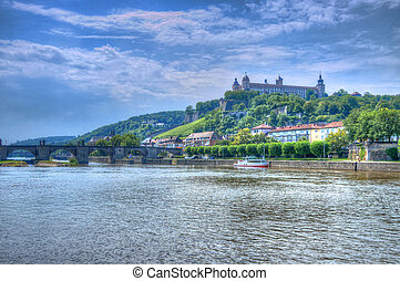 Main river with Marienberg Fortress (Castle), Wurzburg,...