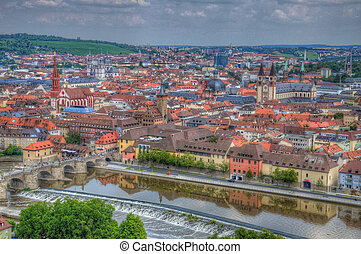 View to Wurzburg from Marienberg Fortress (Castle),...