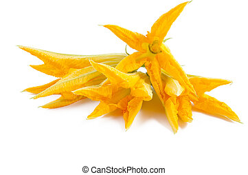 pumpkin soup with courgette flower - pumpkin flower with...