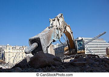 Hydraulic hammer - Detail of hydraulic hammer for crushing...