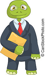 Funny Turtle. Businessman - Cartoon Character Funny Turtle...
