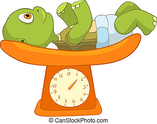 Funny Turtle. Baby Weighing - Cartoon Character Funny Turtle...