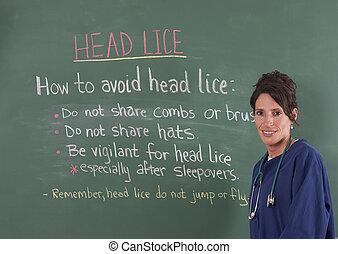 escola, enfermeira, cabeça, piolhos