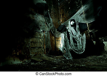 horror - Frightening death in an abandoned house. Halloween,...
