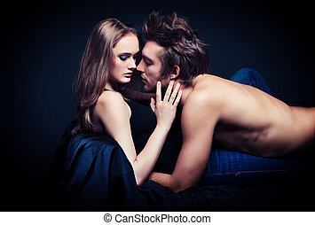 temptation - Shot of a passionate young people in love