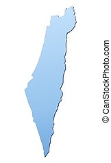 Israel map filled with light blue gradient. High resolution....