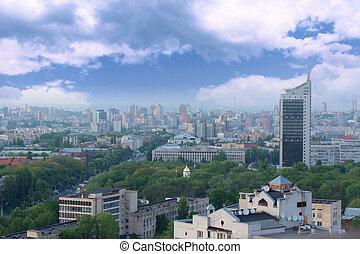 Aerial view on Kyiv, Ukraine - Aerial view on Kyiv (Kiev) -...