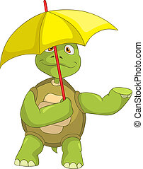 Funny Turtle - Cartoon Character Funny Turtle Isolated on...