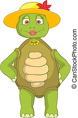 Funny Turtle Wife - Cartoon Character Funny Turtle Isolated...