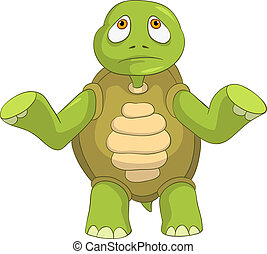Sad Turtle. - Cartoon Character Sad Turtle Isolated on White...