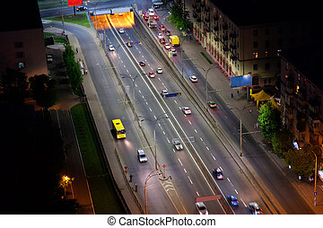 night city aerial view, Kyiv, Ukraine - Night city aerial...