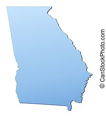 Georgia(USA) map filled with light blue gradient. High...