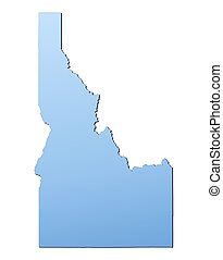 Idaho(USA) map filled with light blue gradient. High...