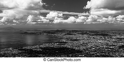 Back and White Naples - Cityscape view of Naples City and...