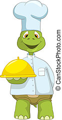 Funny Turtle Chef - Cartoon Character Funny Turtle Isolated...