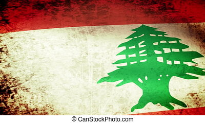 Lebanon Flag Waving, grunge look