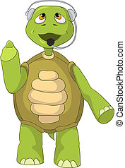 Funny Turtle. Comunication. - Cartoon Character Funny Turtle...