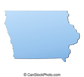 Iowa(USA) map filled with light blue gradient. High...