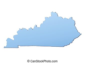Kentucky(USA) map filled with light blue gradient. High...