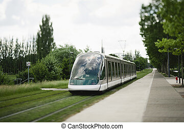 Tramway in Strasbourg - Modern tramway passing near the...