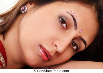 Indian woman face - Beautiful indian woman a face closeup