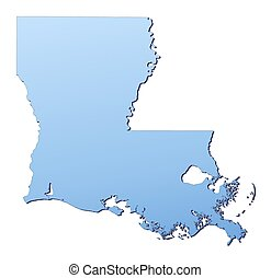 Louisiana(USA) map filled with light blue gradient. High...
