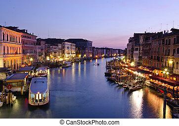 canal, Venecia, noche, magnífico