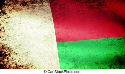 Madagascar Flag Waving, grunge look