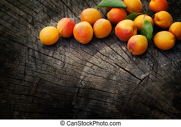 Fresh apricot - Fruit garden concept. Freshly harvested...