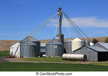 Grain Bins - Grain bins on a farm in Eastern Washington