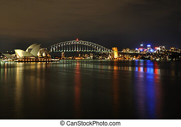 Sydney harbor at Night - Sydney Opera House, Harbour Bridge...
