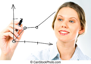 Presentation - Successful business woman showing growth of...