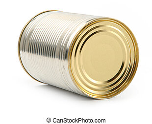 food tin can on white background, natural shadow underneath...