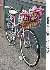 Vintage Pink Bicycle with Pink Flowers - This vintage pink...