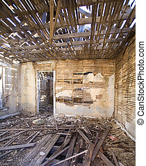 Ghost town room - Room in an abandoned building in northern...