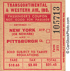 Transcontinental and Western Air New York to Pittsburgh USA...