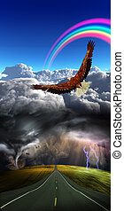 Roan into storm  with calm above