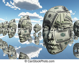 Faces of money - Symbolic floating faces with sureface of...