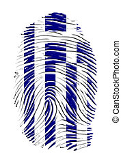 Greek Identity - Greece flag on finger print
