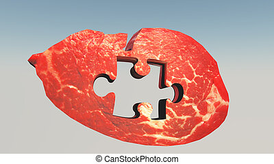 Steak with missing puzzle Piece