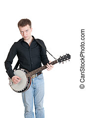 musician playing on a banjo