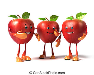 A group of apples - 3d rendered illustration of a group of...