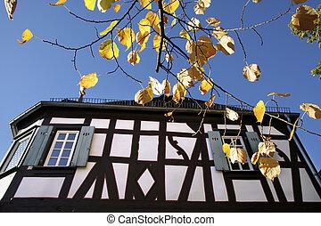 Herbstbltter vor altem Fachwerkhaus in Kiedrich, Rheingau,...