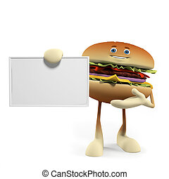 A burger character - 3d rendered illustration of a burger...