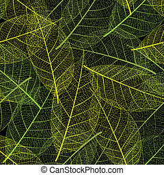 Vector leaf seamless on black background