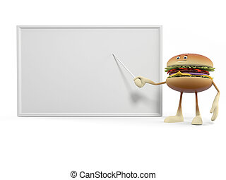 3d rendered illustration of a burger character - A burger...